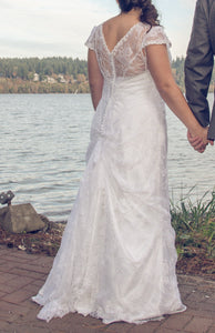 Alfred Angelo 'Lace V Neck' (8501) - alfred angelo - Nearly Newlywed Bridal Boutique - 1