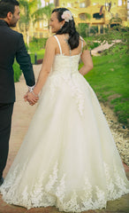 Custom 'Ball Gown' size 10 used wedding dress back view on bride
