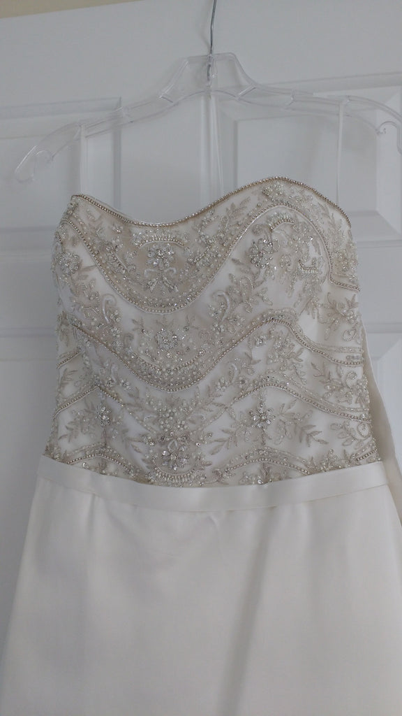 Casablanca 'B093' size 6 sample wedding dress front view on hanger