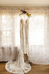 Wtoo 'Viola' size 10 used wedding dress front view on hanger