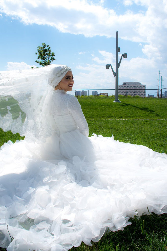 Wedding Dress Long Sleeves Chapel Train