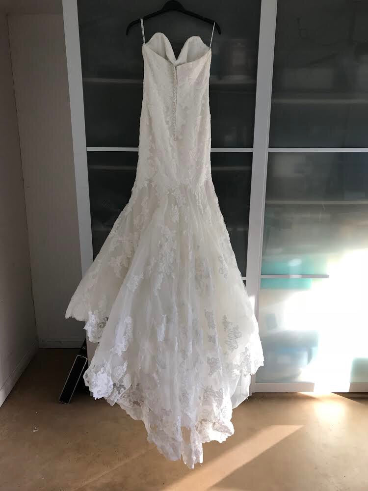 La Soie Bridal 'Caroline' size 10 used wedding dress back view on hanger