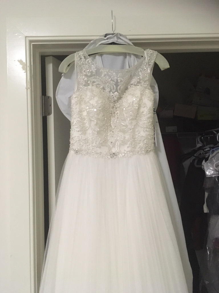 Allure Bridals 'Beaded Illusion' size 8 used wedding dress front view on hanger