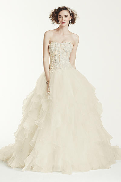 Oleg Cassini 'Strapless Ruffled Skirt' - Oleg Cassini - Nearly Newlywed Bridal Boutique - 1