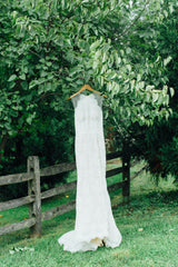Lian Carlo' 6885' size 10 used wedding dress front view on hanger