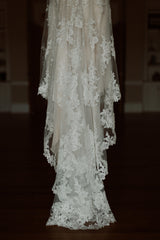 Stella York 'Lace Over Satin' size 4 used wedding dress view of train