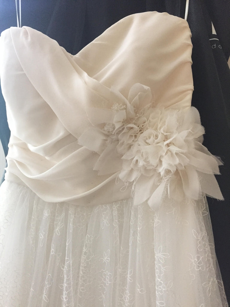 Christos 'Caryis' size 8 used wedding dress front view on hanger