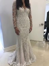 Load image into Gallery viewer, Stephen Yearick 'Long Sleeved' size 8 new wedding dress front view on bride