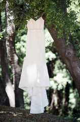 Amsale 'Darcy' size 10 used wedding dress front view on hanger