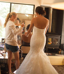 La Soie Bridal 'Caroline' size 10 used wedding dress back view on bride