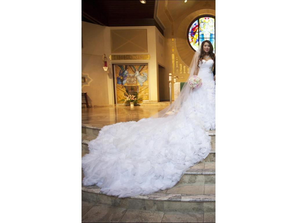 Allure Bridals 'Sweetheart Organza' size 6 used wedding dress back view on bride