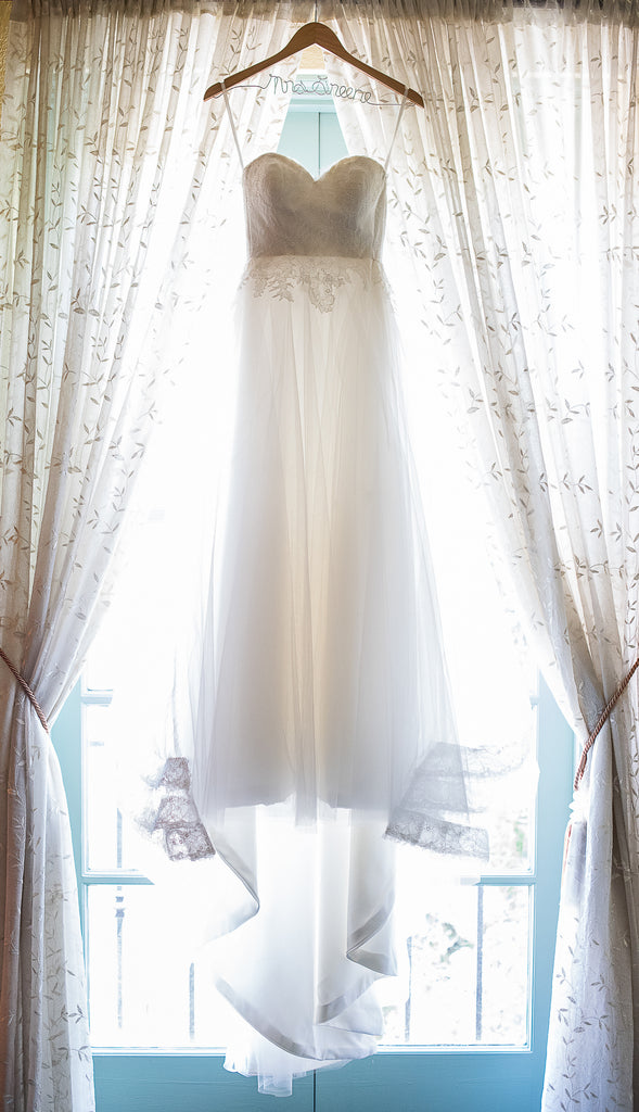 Kelly Faetanini 'Ula' size 0 used wedding dress front view on hanger