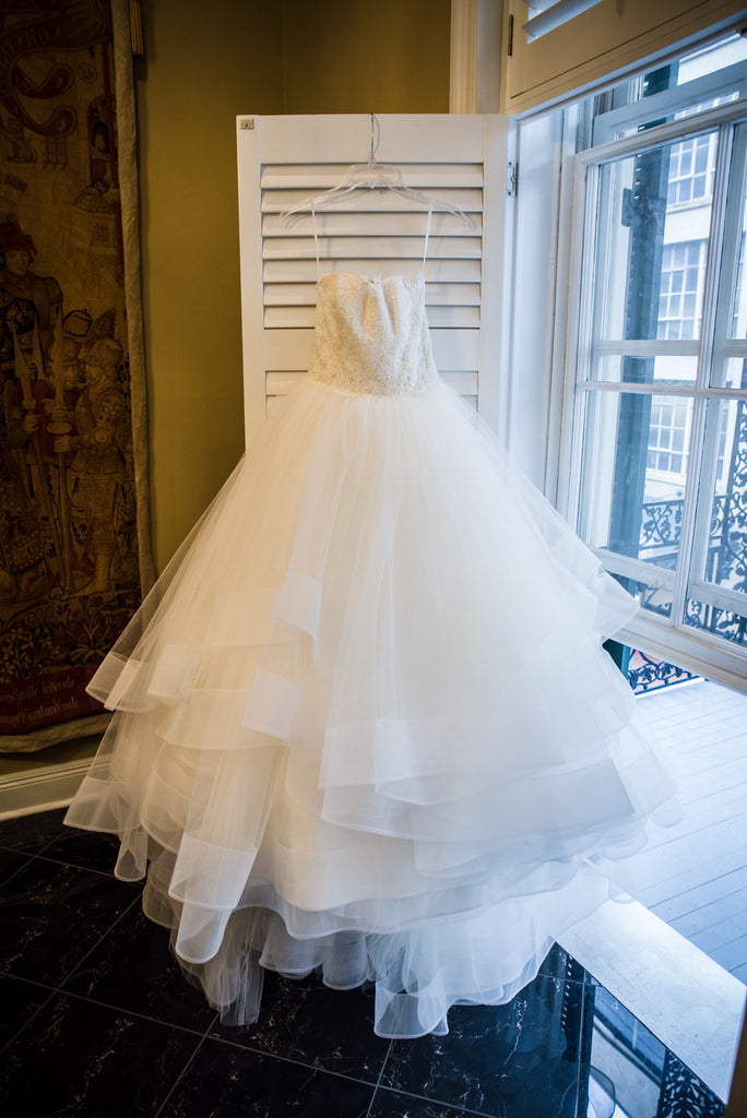 Lazaro '3309' size 4 used wedding dress front view on hanger