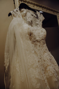 Casablanca '2289' size 6 used wedding dress front view on hanger