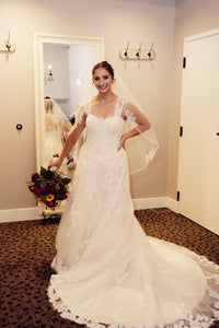 Casablanca '2289' size 6 used wedding dress front view on bride
