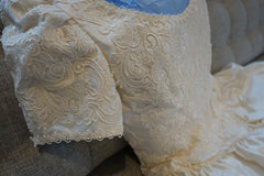Christos 'Lace' size 4 used wedding dress front view close up
