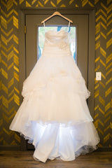 Disney 'White Tulle & Satin' size 8 used wedding dress front view on hanger