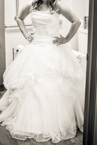 Disney 'White Tulle & Satin' size 8 used wedding dress front view on bride