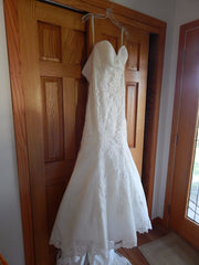 Allure Bridals 'Strapless Lace' size 8 new wedding dress front view on hanger