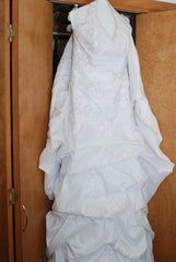 David's Bridal '9606' size 12 used wedding dress front view on hanger