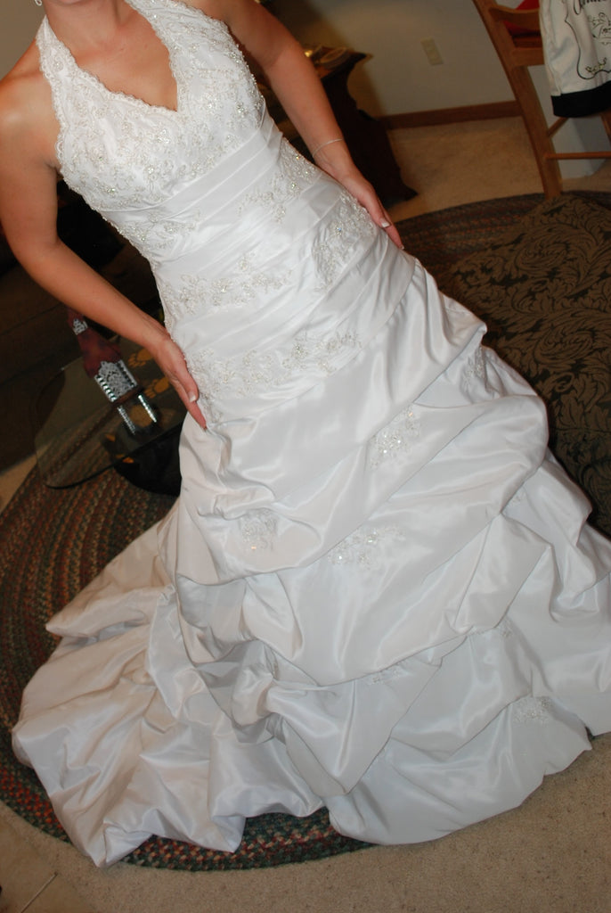 David's Bridal '9606' size 12 used wedding dress front view on bride