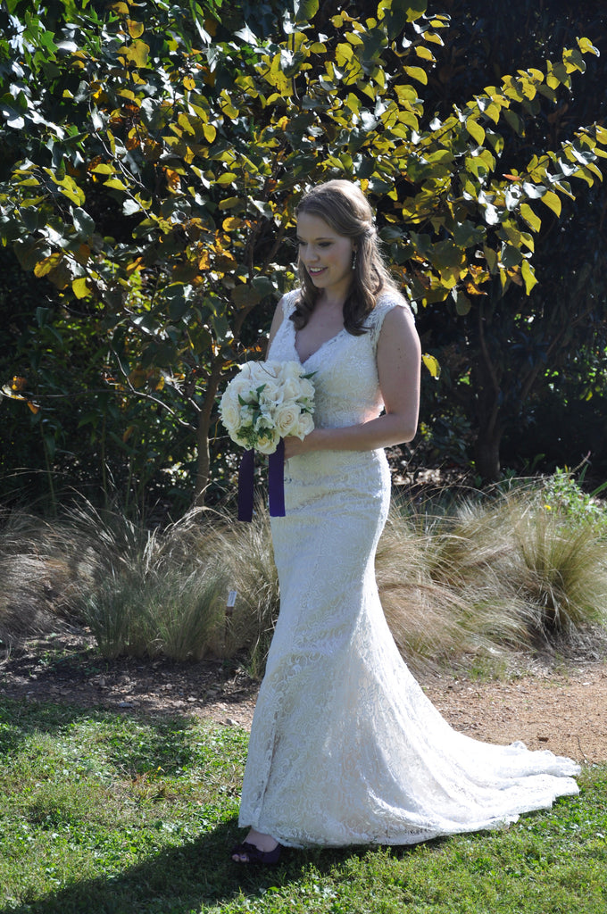 David's Bridal 'All Over Beaded Lace Trumpet Gown' - David's Bridal - Nearly Newlywed Bridal Boutique - 2