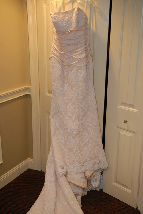 Impression Bridal 'Zurc' size 10 used wedding dress front view on hanger