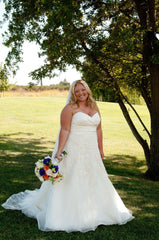 Watters Lasara Floral Strapless Wedding Dress - Watters - Nearly Newlywed Bridal Boutique - 4