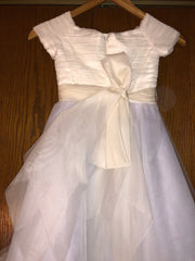 Exquisite Brides 'Ivory and Lavender Elaborate Flower Girl Dress- 118' size 8 child's flower girl dress back view close up