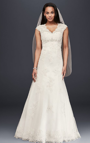 David's Bridal 'Cap Sleeve Lace Over Satin T3299'
