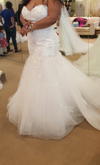Demetrios '7521' size 18 new wedding dress side view on bride
