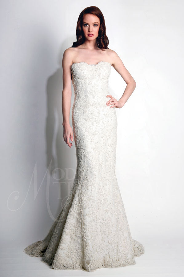 Modern Trousseau 'Beaded Dove' size 6 new wedding dress front view on model