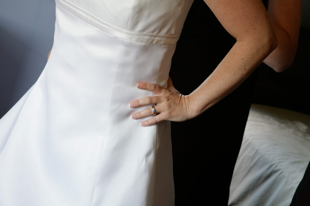 Vera Wang 'Emily' size 18 used wedding dress front view close up on bride