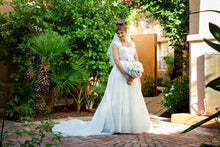 Load image into Gallery viewer, Melissa Sweet Ivory Cap Sleeve Gown - Melissa Sweet - Nearly Newlywed Bridal Boutique - 2