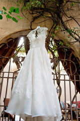 Melissa Sweet Ivory Cap Sleeve Gown - Melissa Sweet - Nearly Newlywed Bridal Boutique - 1