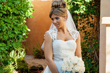 Load image into Gallery viewer, Melissa Sweet Ivory Cap Sleeve Gown - Melissa Sweet - Nearly Newlywed Bridal Boutique - 3