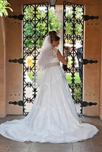 Load image into Gallery viewer, Melissa Sweet Ivory Cap Sleeve Gown - Melissa Sweet - Nearly Newlywed Bridal Boutique - 4