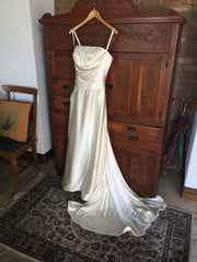 Yolanda 'Irene' size 8 used wedding dress front view on hanger