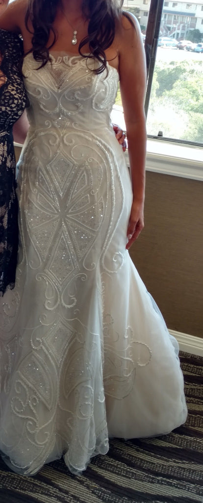 Ines Di Santo 'Zabize' size 4 used wedding dress front view on bride