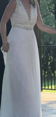 BHLDN 'Taryn' size 2 used wedding dress front view on bride
