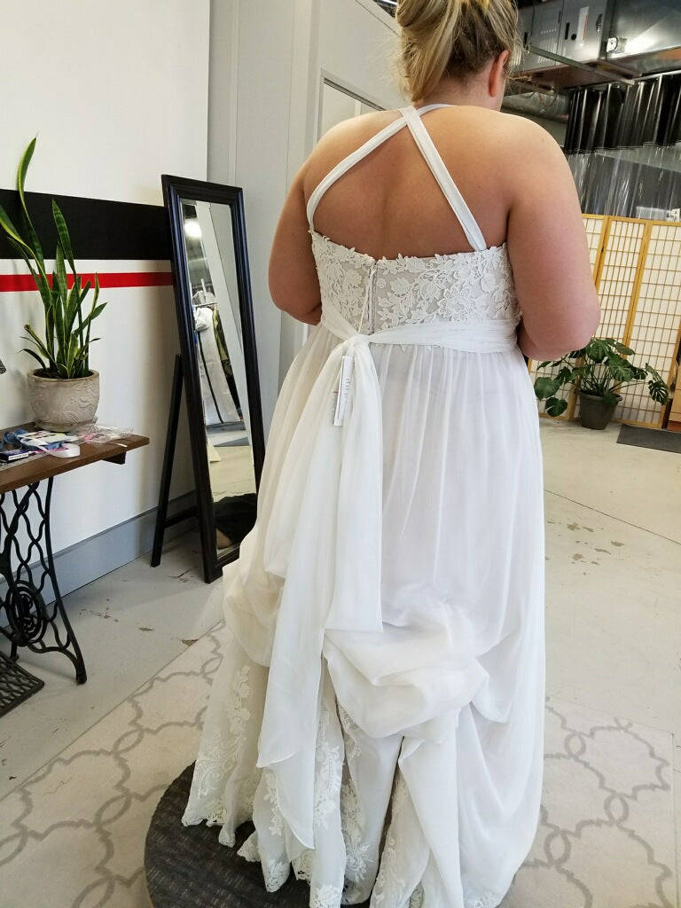 Lillian West '6481' size 20 used wedding dress back view on bride