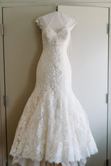 Danielle Caprese 'Sweetheart Mermaid' size 4 used wedding dress front view on hanger