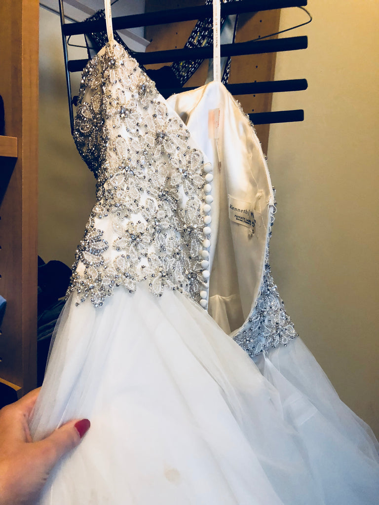 Kenneth Winston '1597' size 2 used wedding dress view of beading