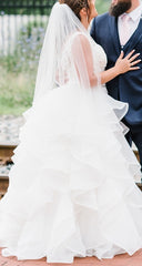 Mori Lee '2905' size 12 used wedding dress side view on bride