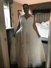 Load image into Gallery viewer, Oleg Cassini 'Lace Ball Gown' size 18 used wedding dress front view on bride