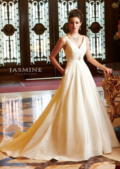 Jasmine 'F313' size 10 sample wedding dress front view on model