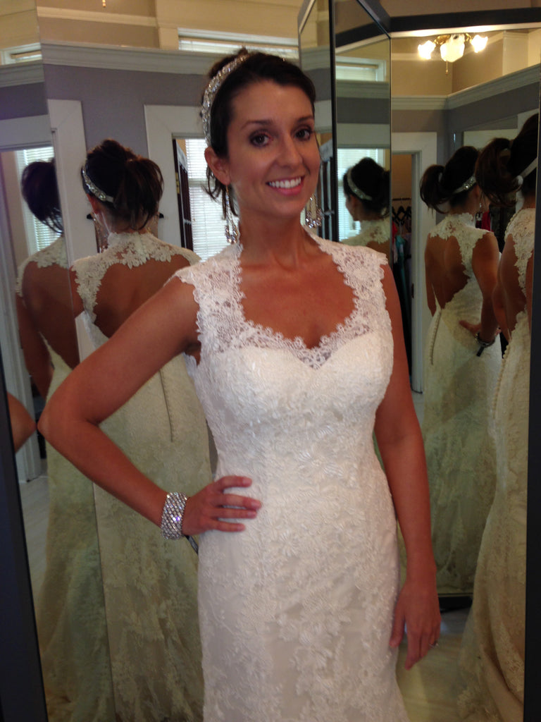 Justin Alexander 'Gorgeous' size 6 used wedding dress front view on bride