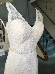 Custom 'Madeline' size 6 used wedding dress front view on mannequin