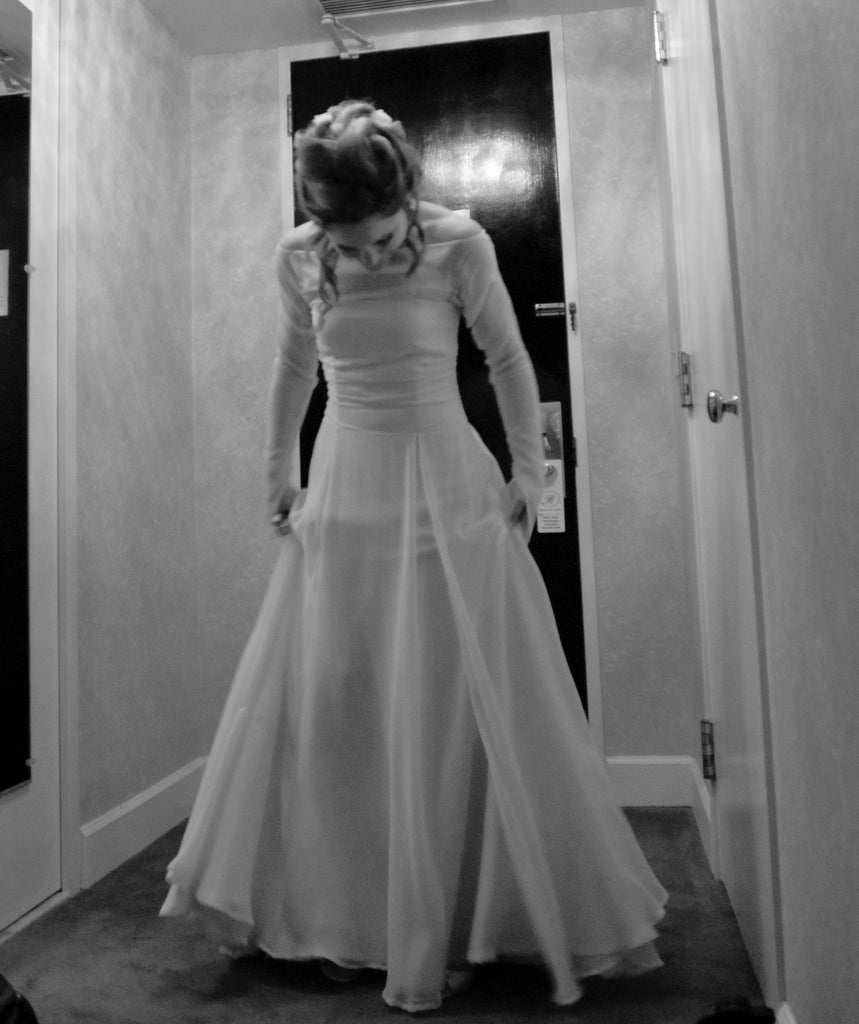 Custom 'Juliet' size 2 used wedding dress front view on bride