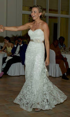 Maggie Sotttero 'Brittania' size 6 used wedding dress front view on bride